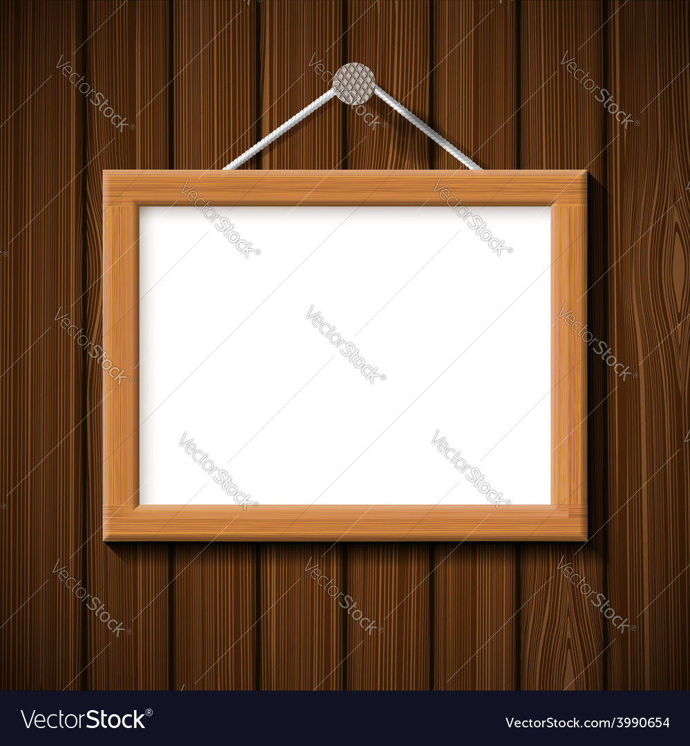 Wooden frame on the background of brown wall vector | Price: 1 Credit (USD $1)