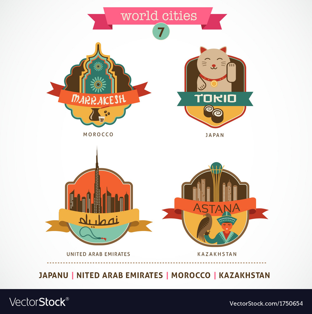 World cities labels - marrakesh tokio astana dubai vector | Price: 1 Credit (USD $1)