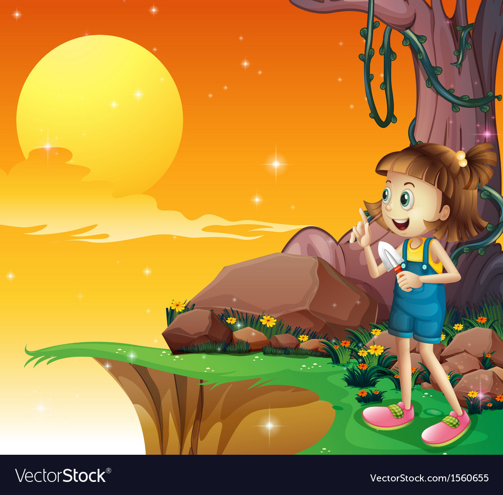 A young girl near the cliff holding a small shovel vector | Price: 3 Credit (USD $3)
