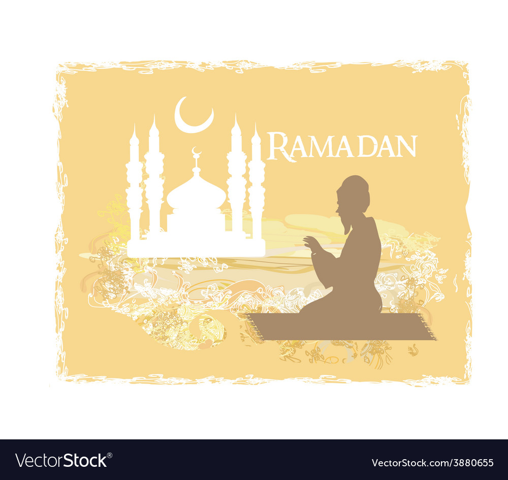 Abstract religious background - muslim man prays vector   Price: 1 Credit (USD $1)