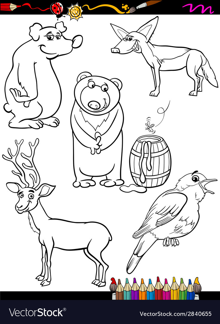 Animals set cartoon coloring page vector | Price: 1 Credit (USD $1)