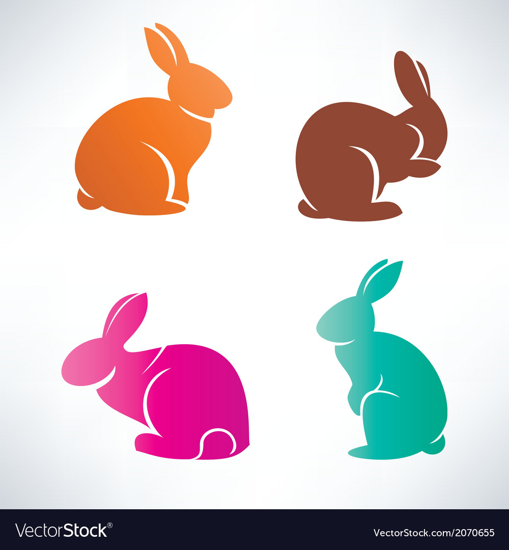Bunny silhouette collection vector