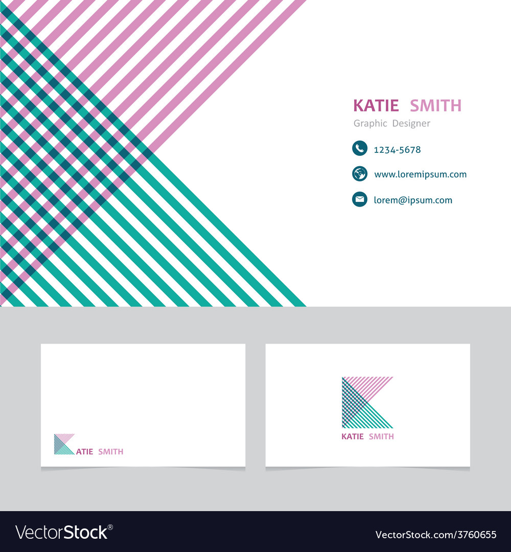 Business card template with a letter k vector | Price: 1 Credit (USD $1)