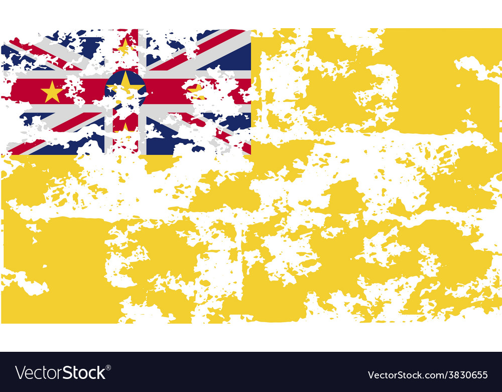 Flag of niue with old texture vector | Price: 1 Credit (USD $1)