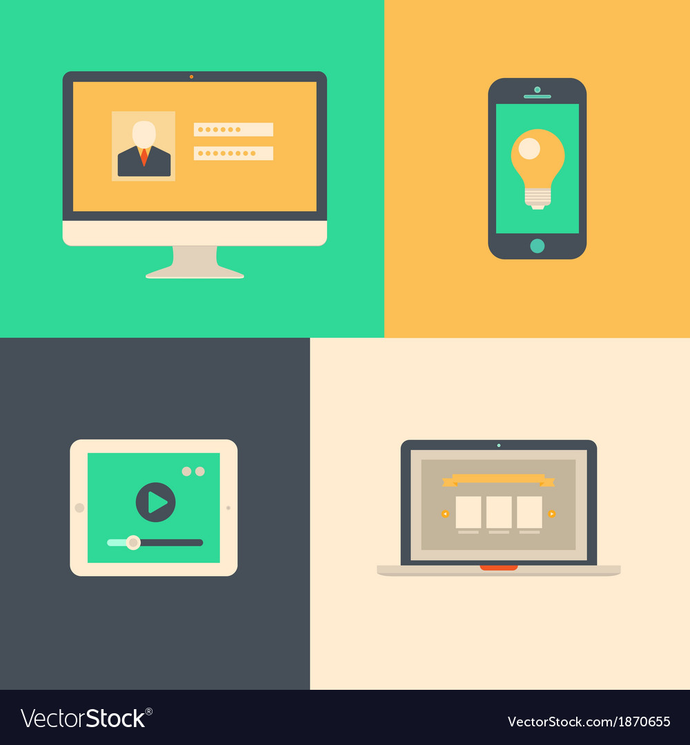 Flat design tablet phone computer and laptop vector | Price: 1 Credit (USD $1)