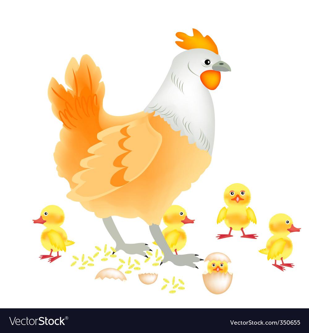 Hen with newborn vector | Price: 1 Credit (USD $1)