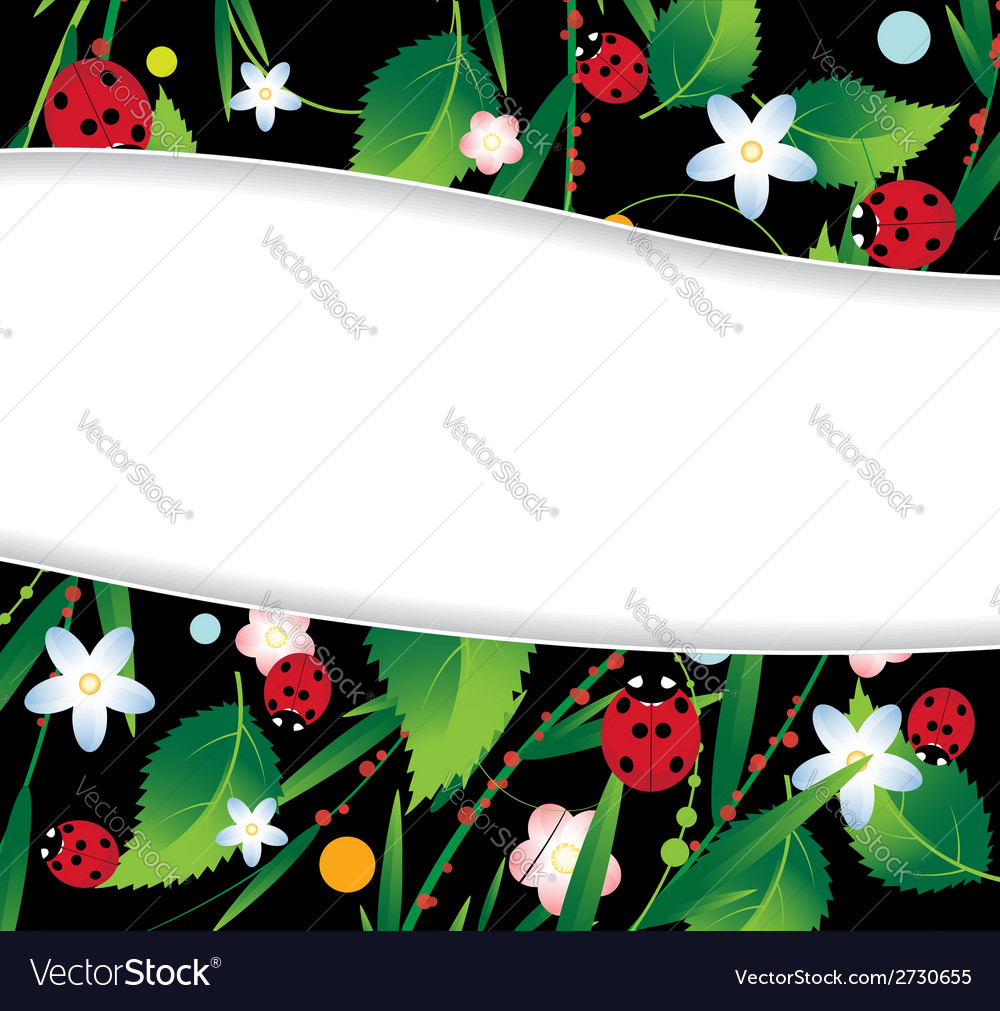 Ladybugs and flowers vector | Price: 1 Credit (USD $1)