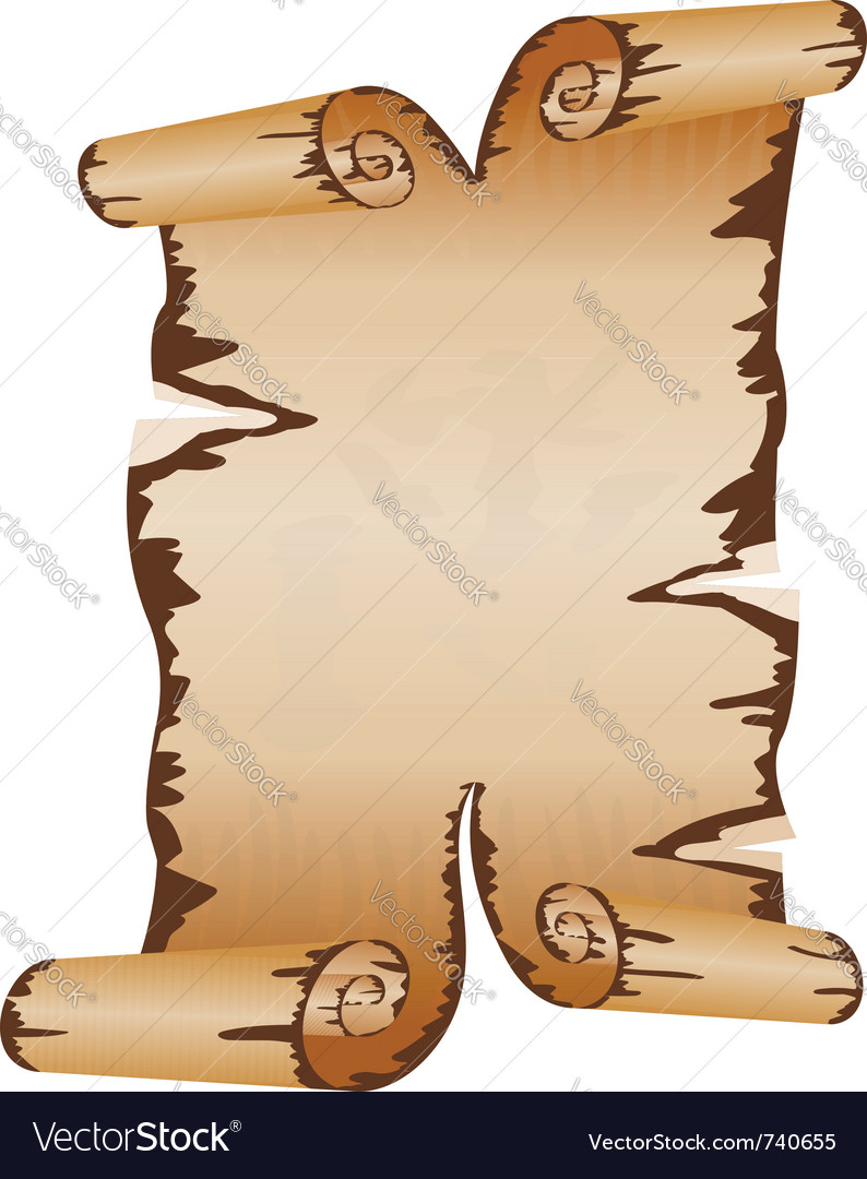 Old dirty manuscript with scroll ragged edges vector | Price: 1 Credit (USD $1)