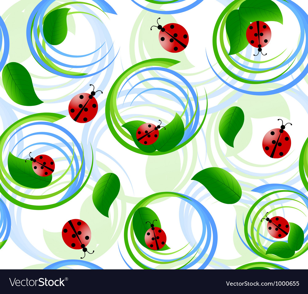 Seamless pattern with ladybug vector | Price: 1 Credit (USD $1)