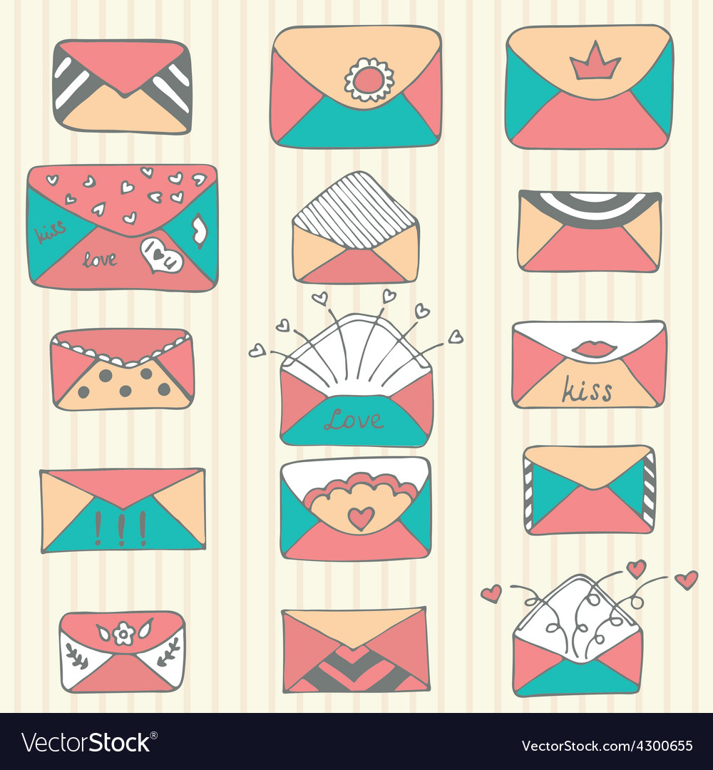 Set of hand drawn mailing envelopes sketch style vector | Price: 1 Credit (USD $1)