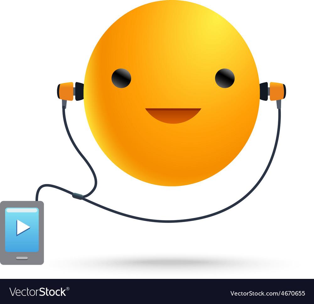 Sun smile music player vector | Price: 1 Credit (USD $1)