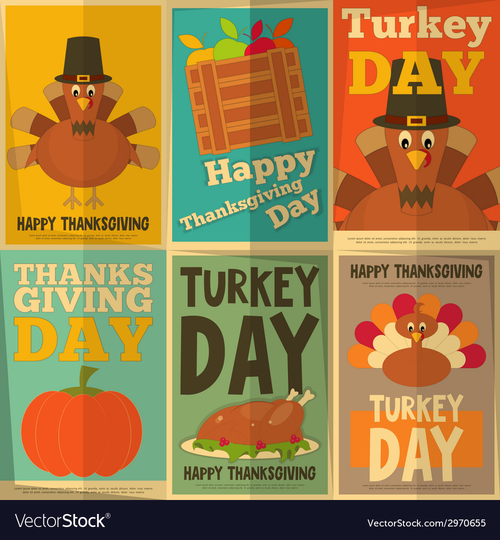 Thanksgiving day retro posters vector | Price: 1 Credit (USD $1)