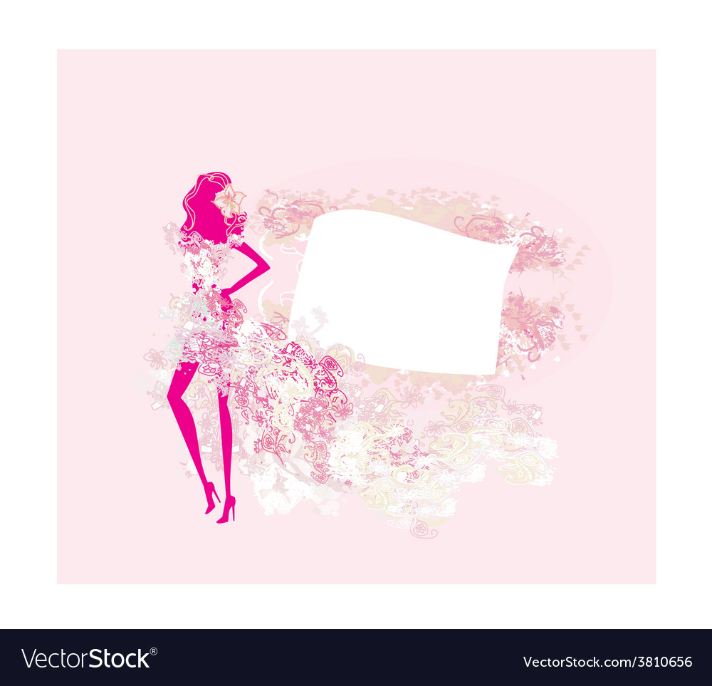 Abstract floral fashion girl silhouette poster vector | Price: 1 Credit (USD $1)