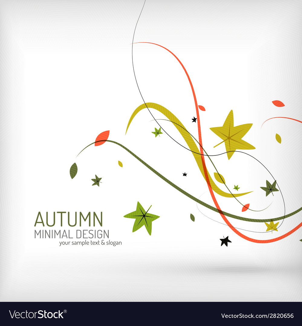 Autumn swirl plant and leaves minimal vector | Price: 1 Credit (USD $1)