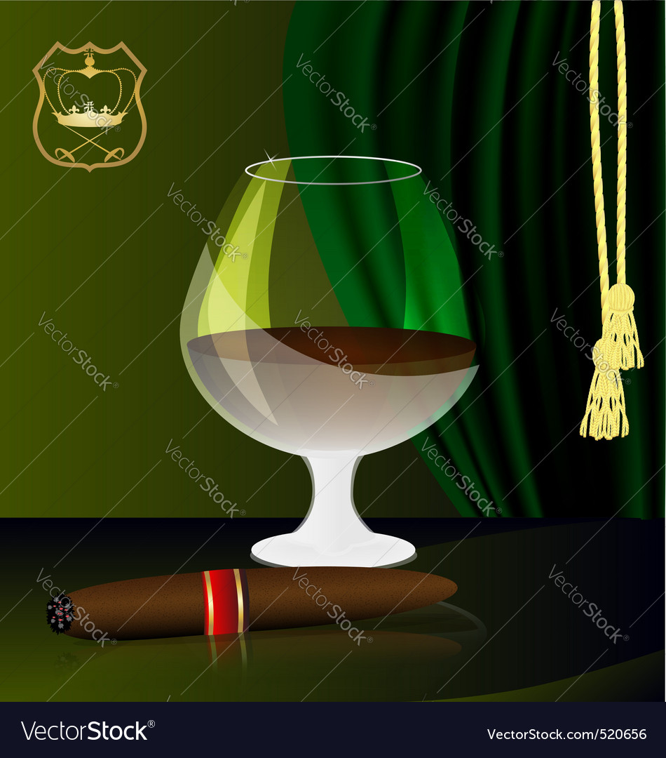 Cognac and cigar vector | Price: 1 Credit (USD $1)