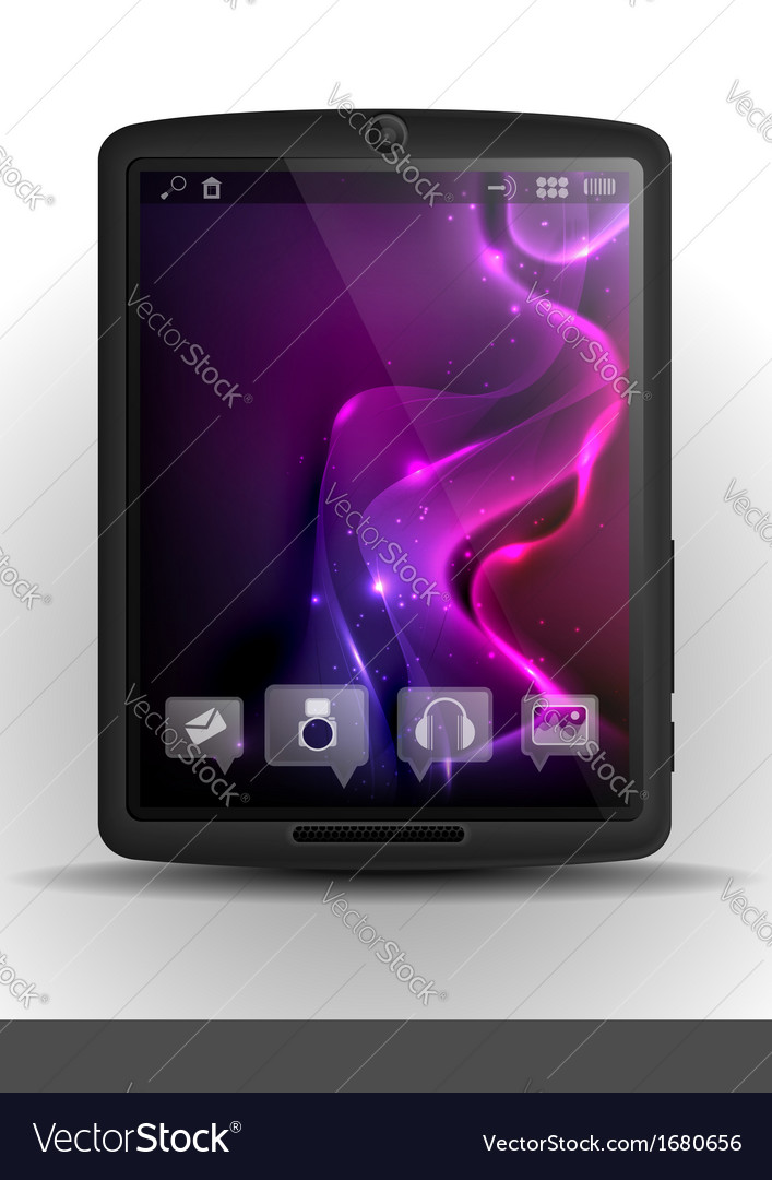 Digital tablet pc with purple screen vector | Price: 1 Credit (USD $1)