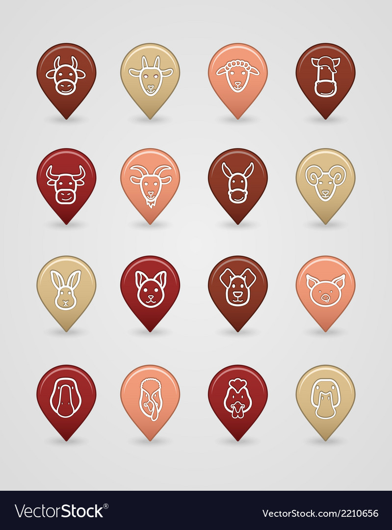 Farm animals mapping pins icons vector | Price: 1 Credit (USD $1)