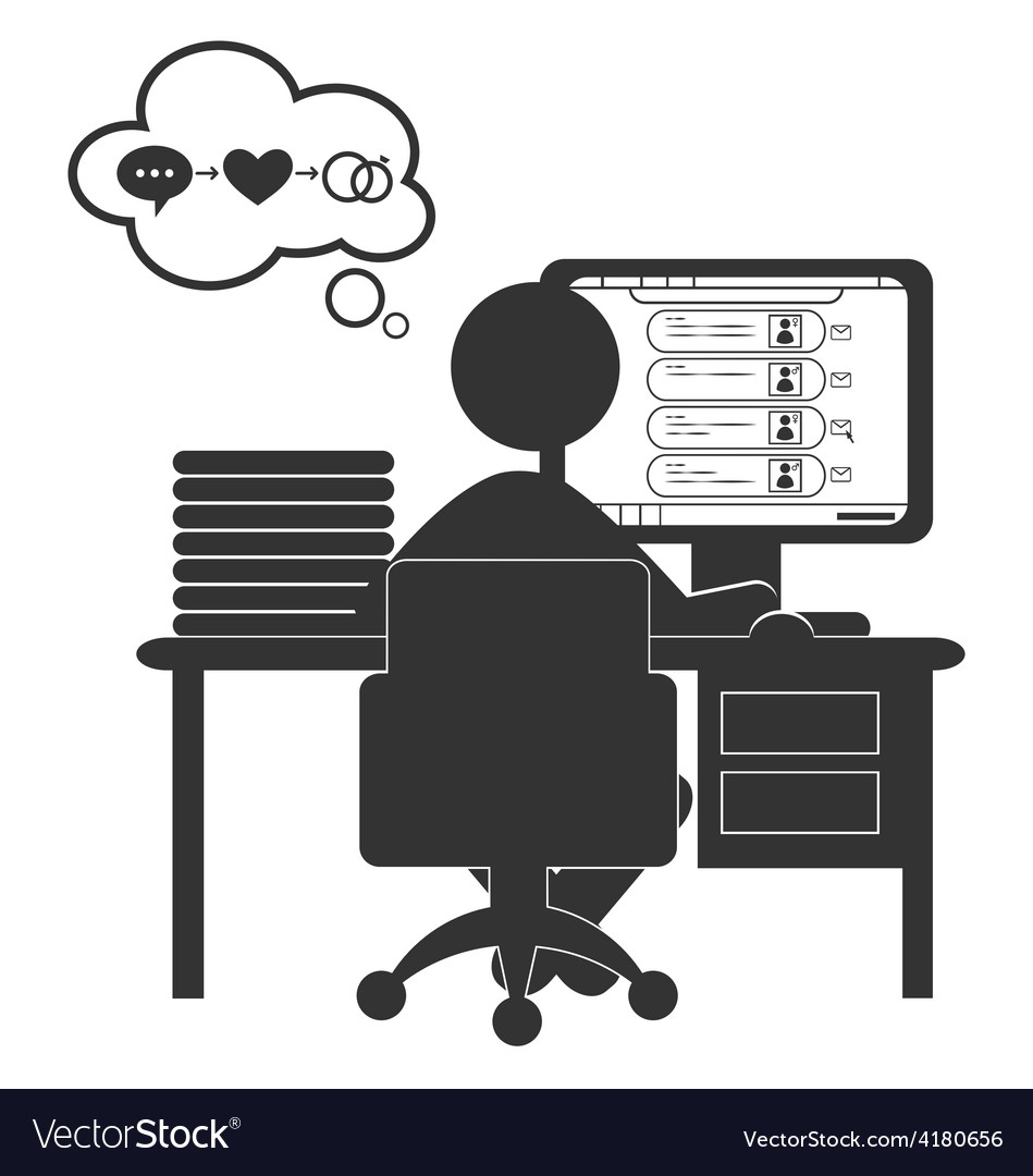 Flat computer icon with dating site isolated on vector | Price: 1 Credit (USD $1)