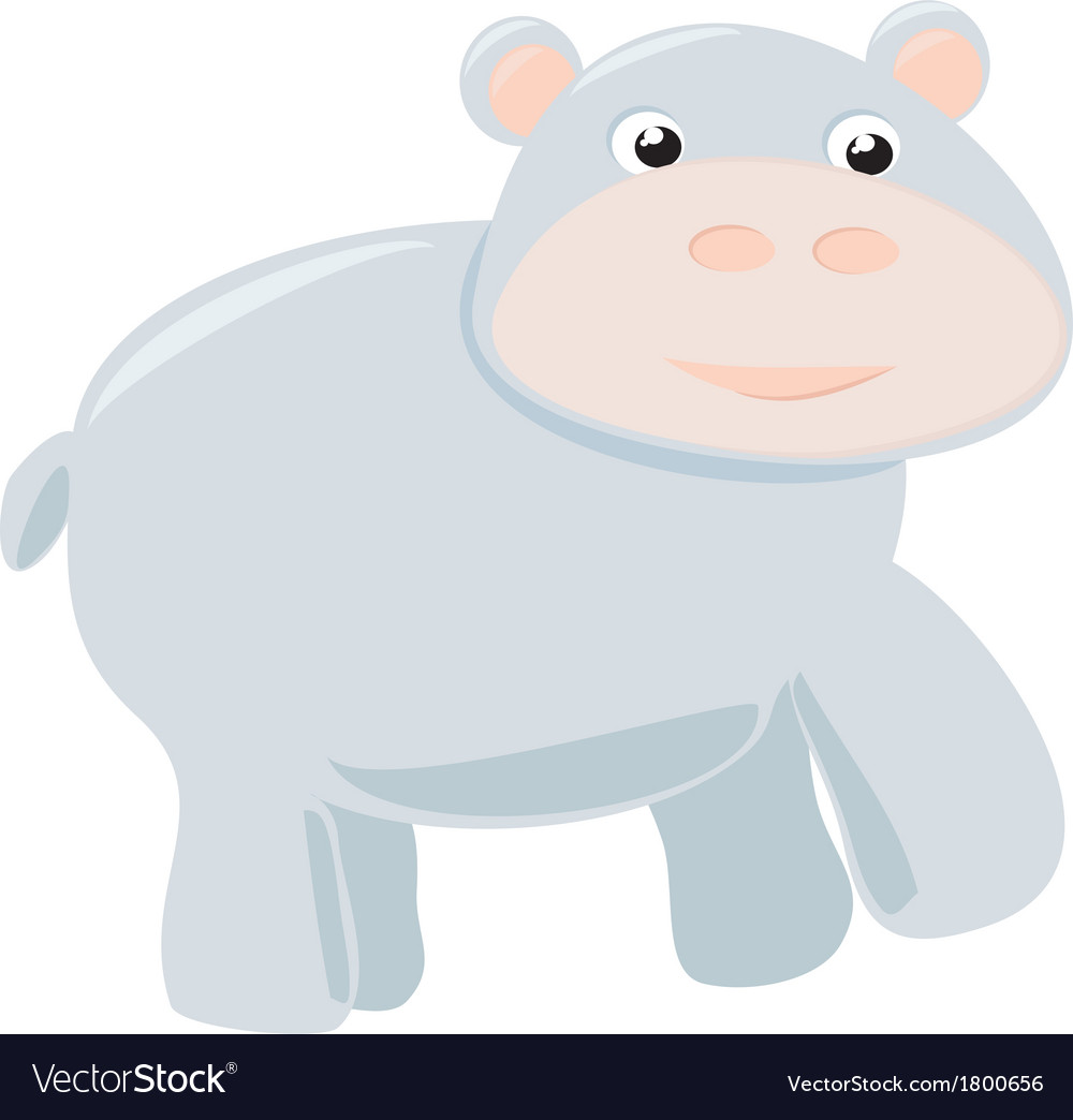 Happy hippo baby isolated on white background vector | Price: 1 Credit (USD $1)