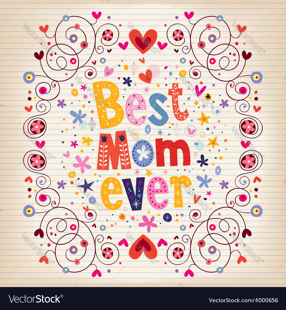 Happy mothers day card design with hand made retro vector | Price: 1 Credit (USD $1)