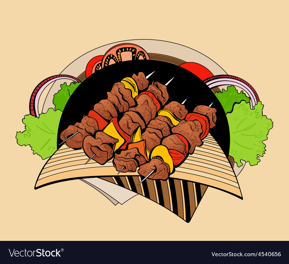 Image of four skewers with pieces shashlik vector | Price: 1 Credit (USD $1)