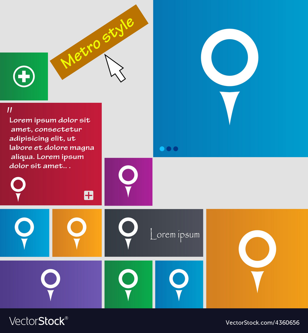 Map pointer gps location icon sign metro style vector | Price: 1 Credit (USD $1)