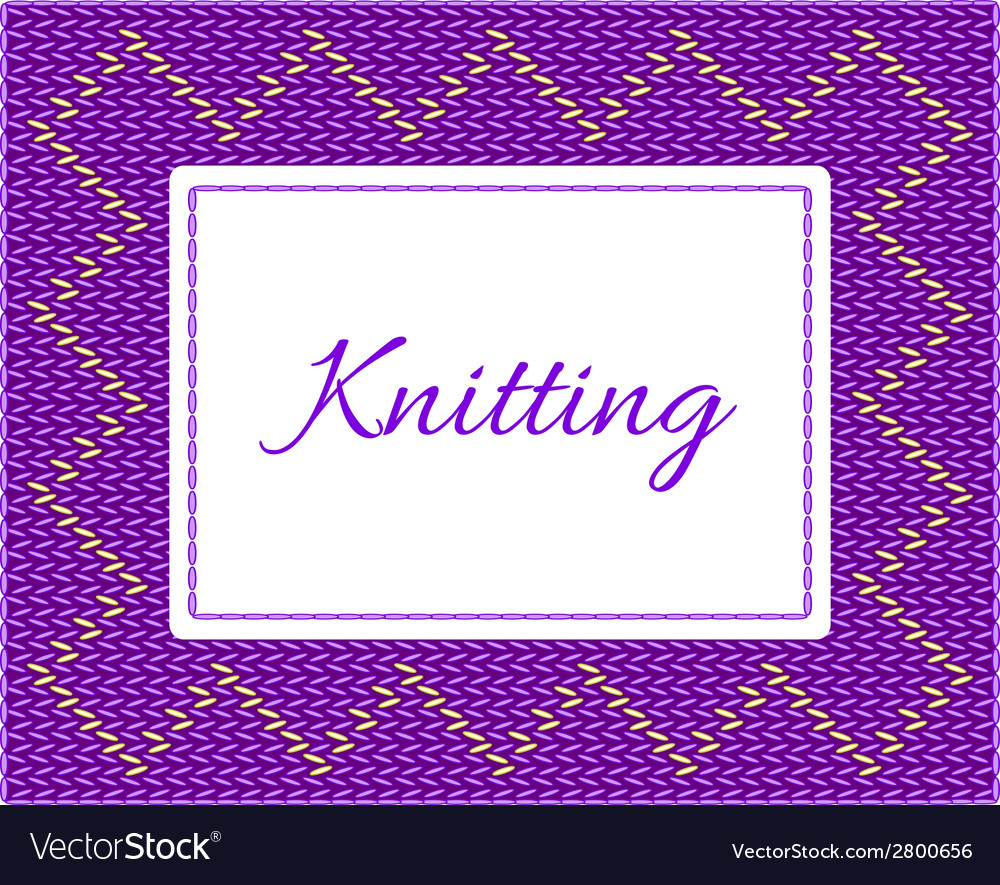 Purple with yellow knitted card vector | Price: 1 Credit (USD $1)