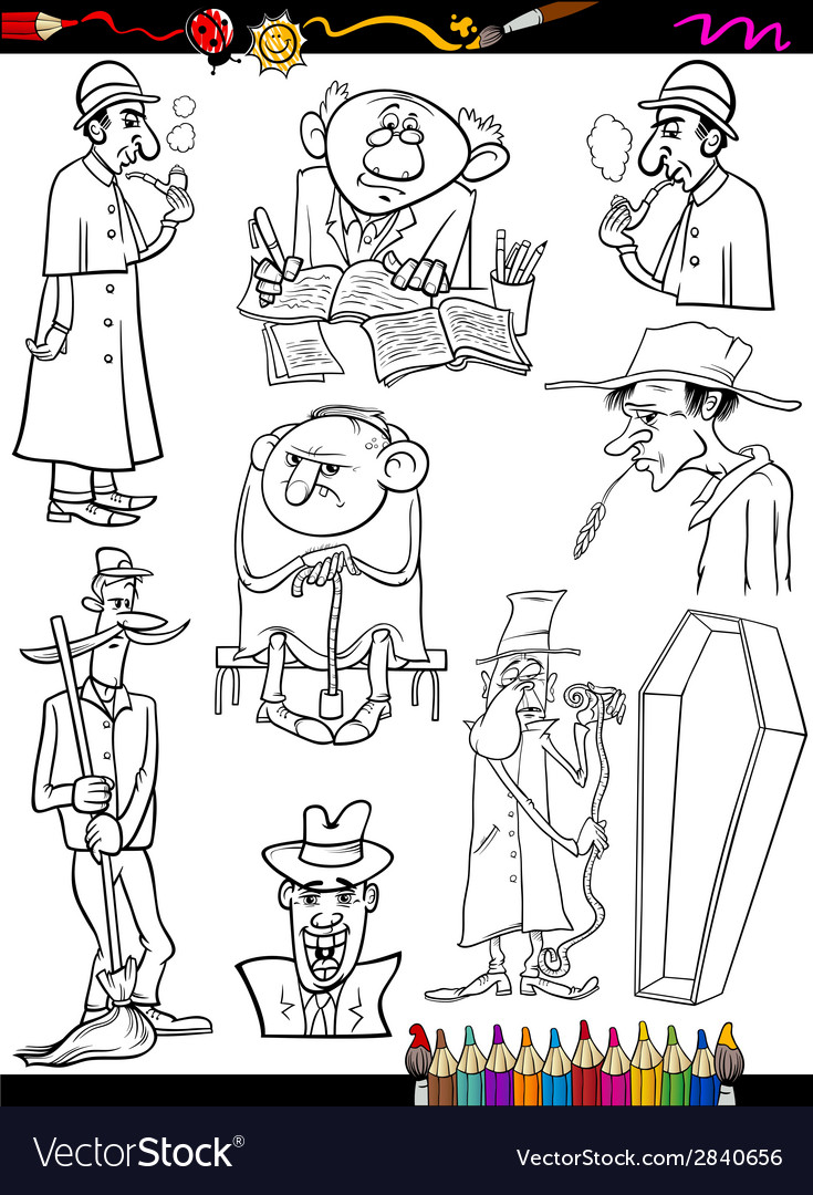 Retro people set cartoon coloring page vector | Price: 1 Credit (USD $1)