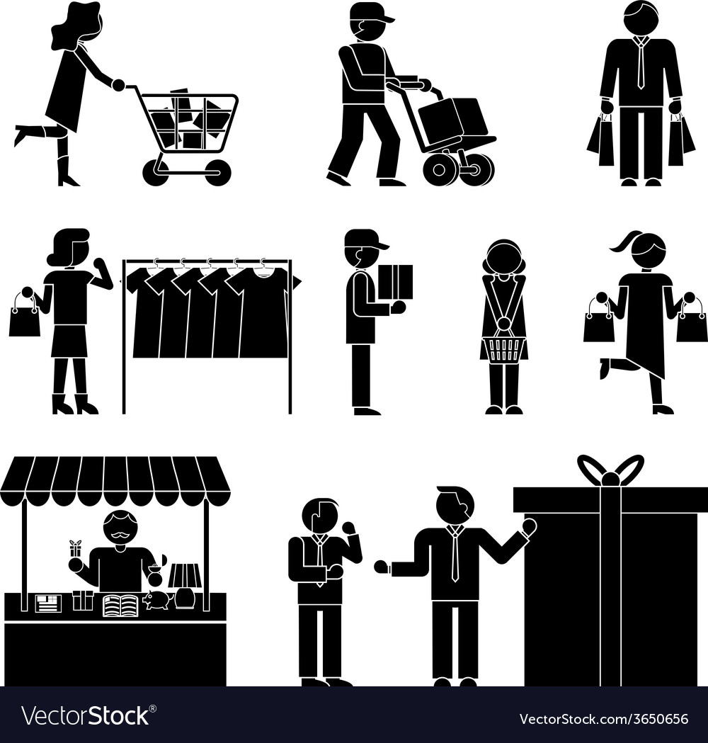 Set of shoppers and shopping icons vector | Price: 1 Credit (USD $1)