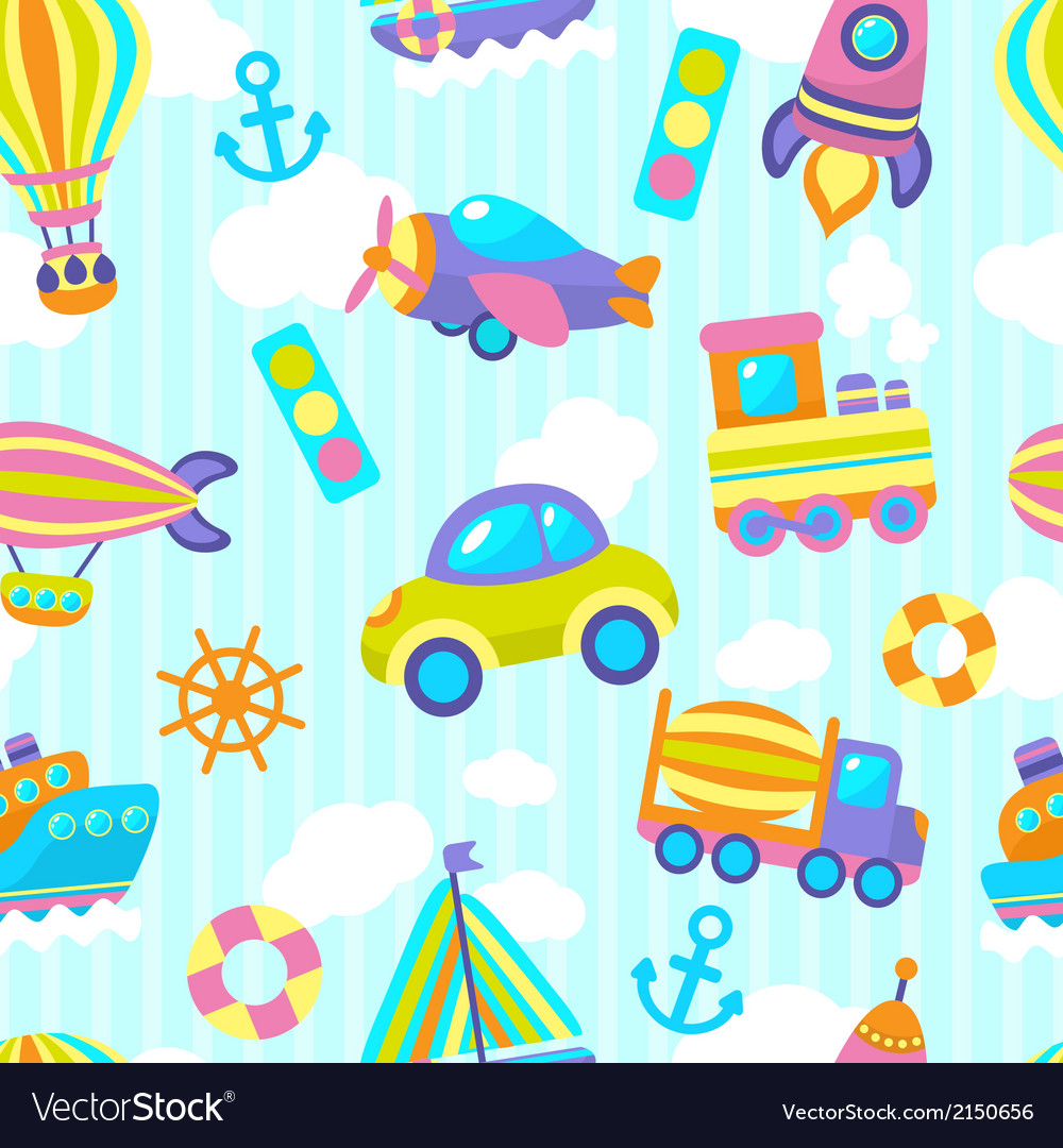 Transport toy seamless pattern vector | Price: 1 Credit (USD $1)