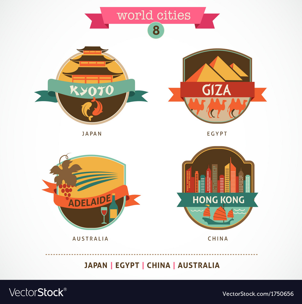 World cities labels - kyoto giza adelaide hong vector | Price: 1 Credit (USD $1)