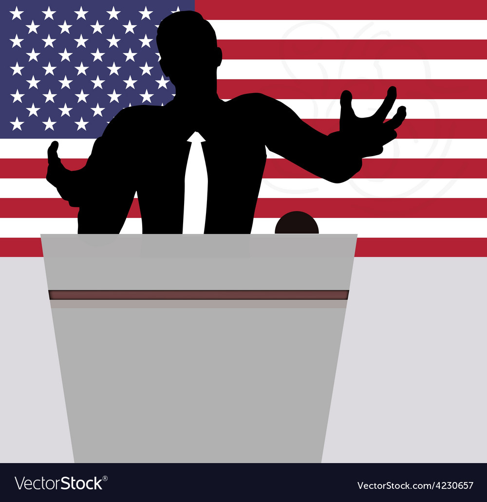 A businessman politician talking to crowd vector | Price: 1 Credit (USD $1)