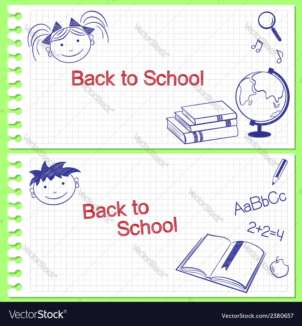 Back to school banners vector | Price: 1 Credit (USD $1)
