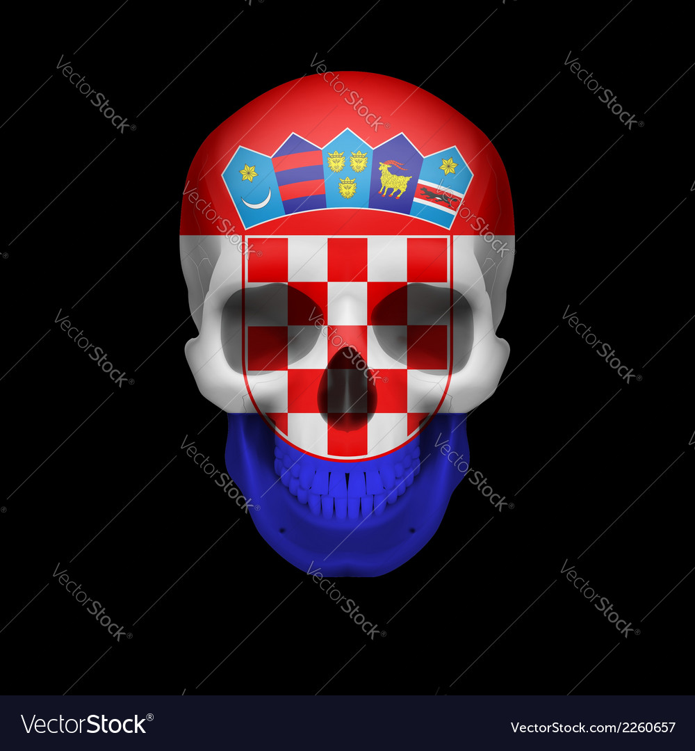 Croatian flag skull vector | Price: 1 Credit (USD $1)