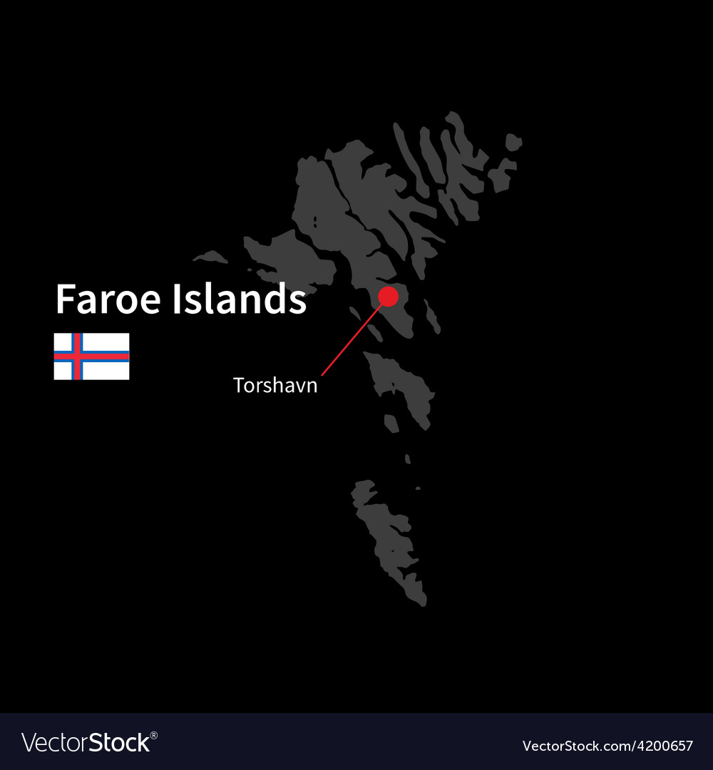 Detailed map of faroe islands and capital city vector   Price: 1 Credit (USD $1)
