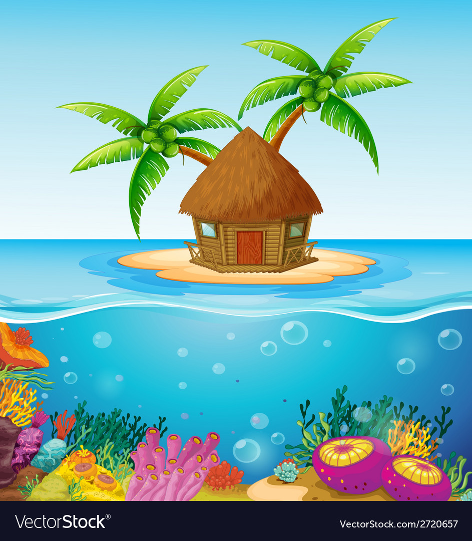 Hut on island vector | Price: 1 Credit (USD $1)