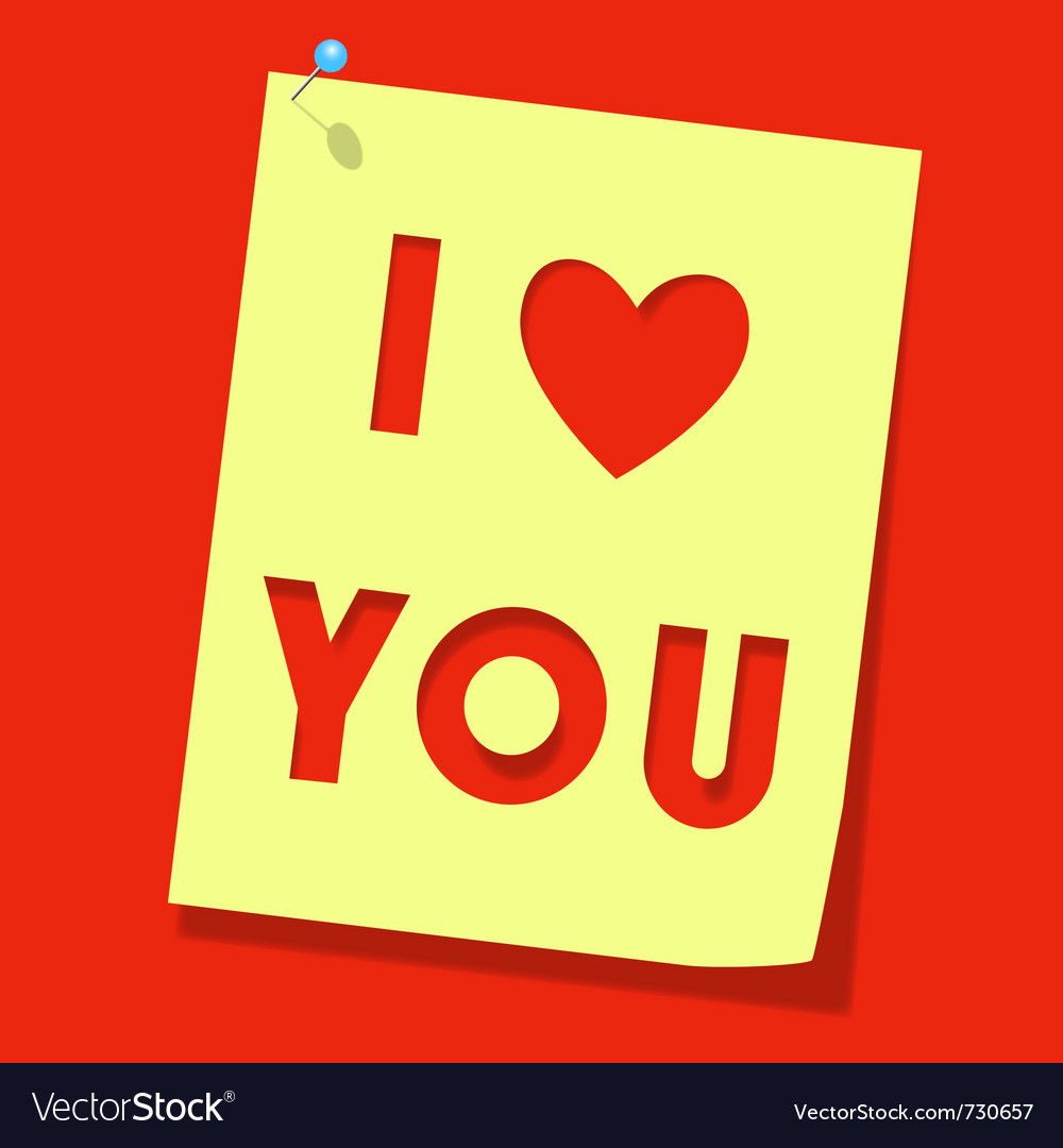 Love you paper note vector | Price: 1 Credit (USD $1)