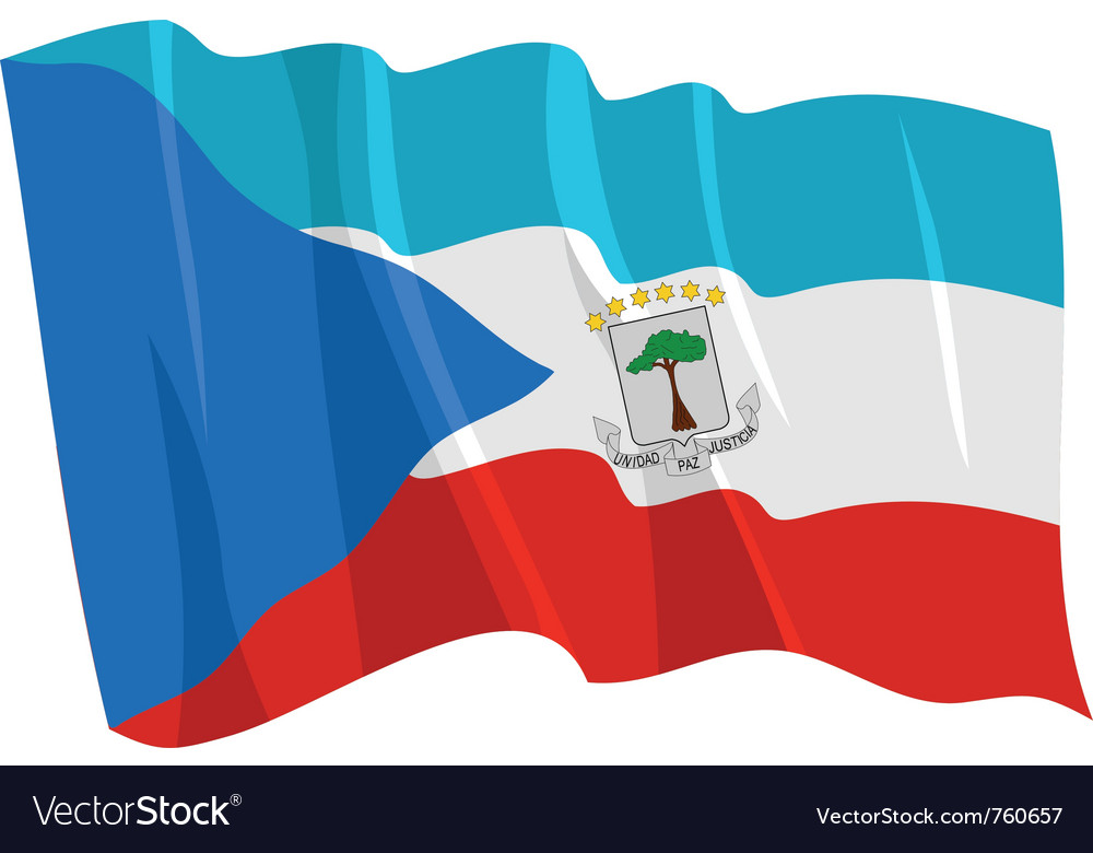 Political waving flag of equatorial guinea vector | Price: 1 Credit (USD $1)