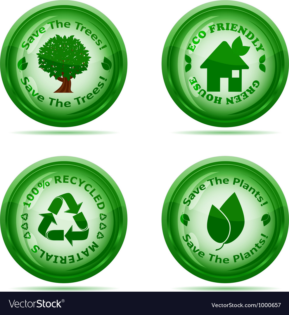 Set of green environmental icons vector | Price: 1 Credit (USD $1)