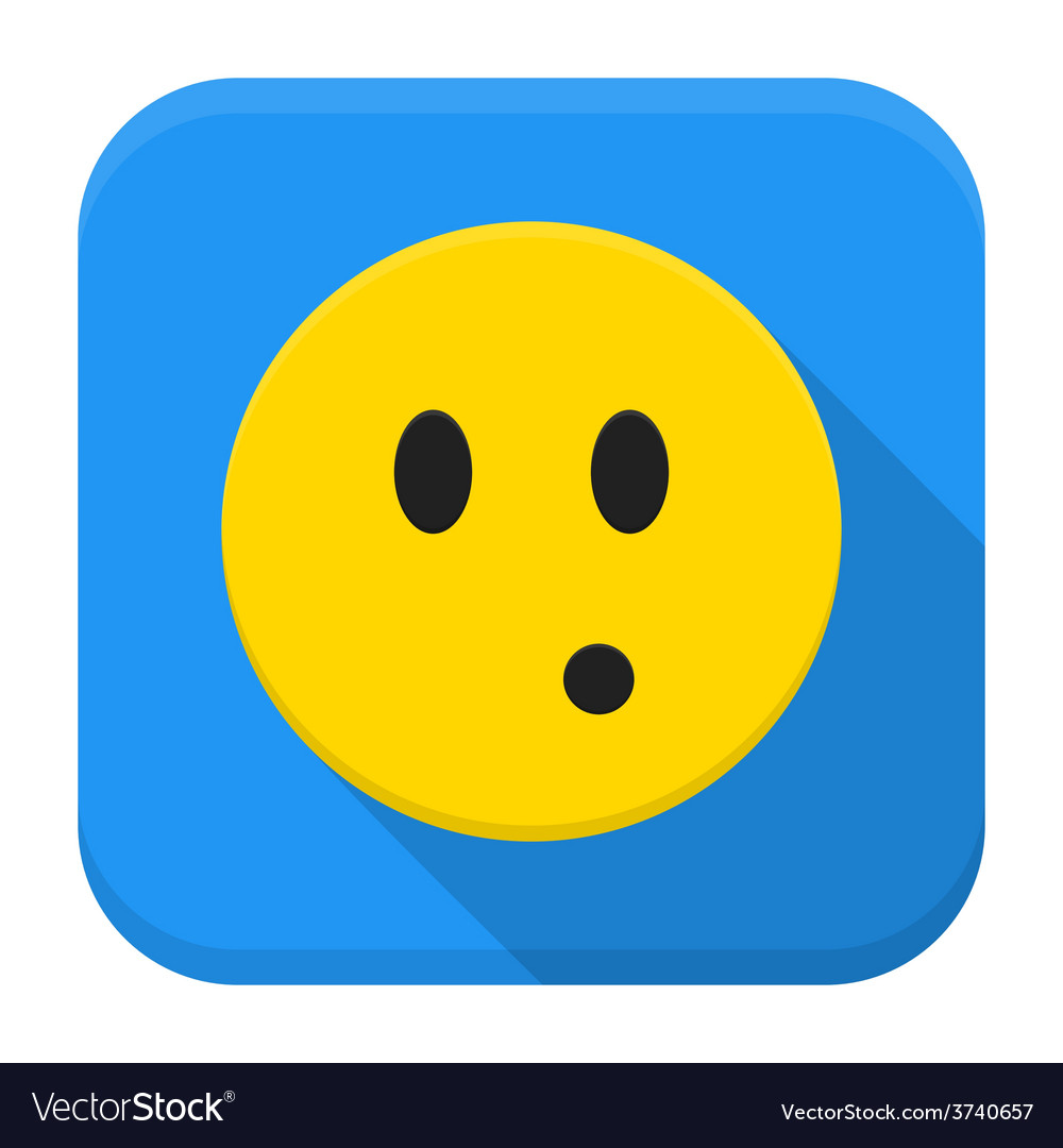 Surprised yellow smile app icon with long shadow vector | Price: 1 Credit (USD $1)