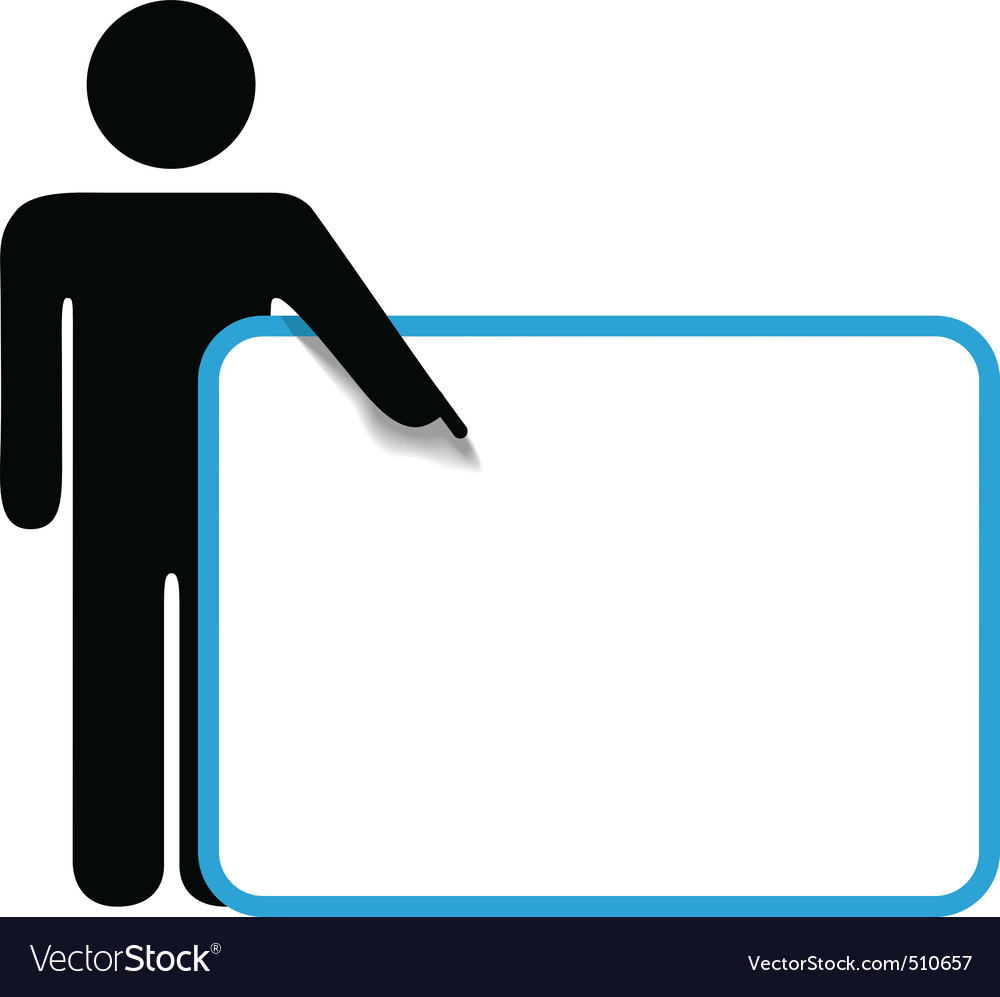 Symbol person stick figure points finger sign copy vector | Price: 1 Credit (USD $1)