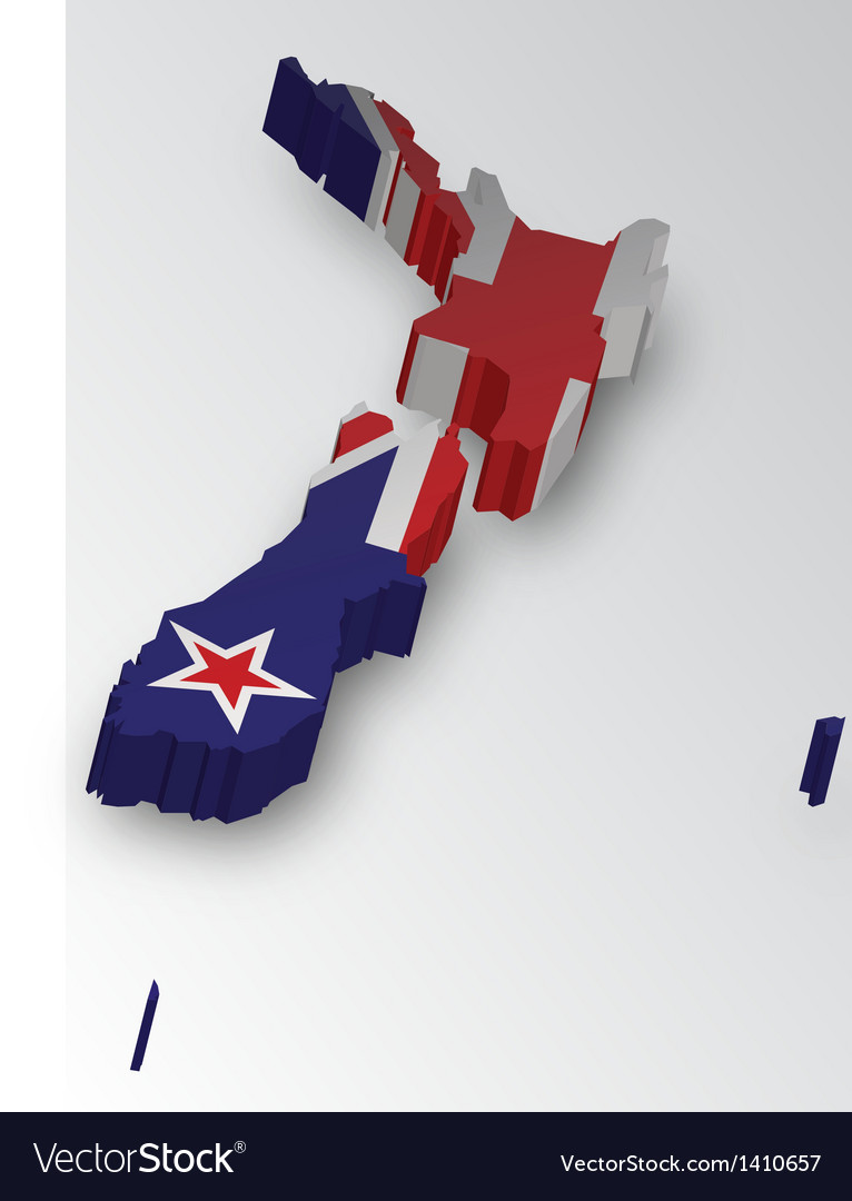 Three dimensional map of new zealand in flag color vector | Price: 1 Credit (USD $1)