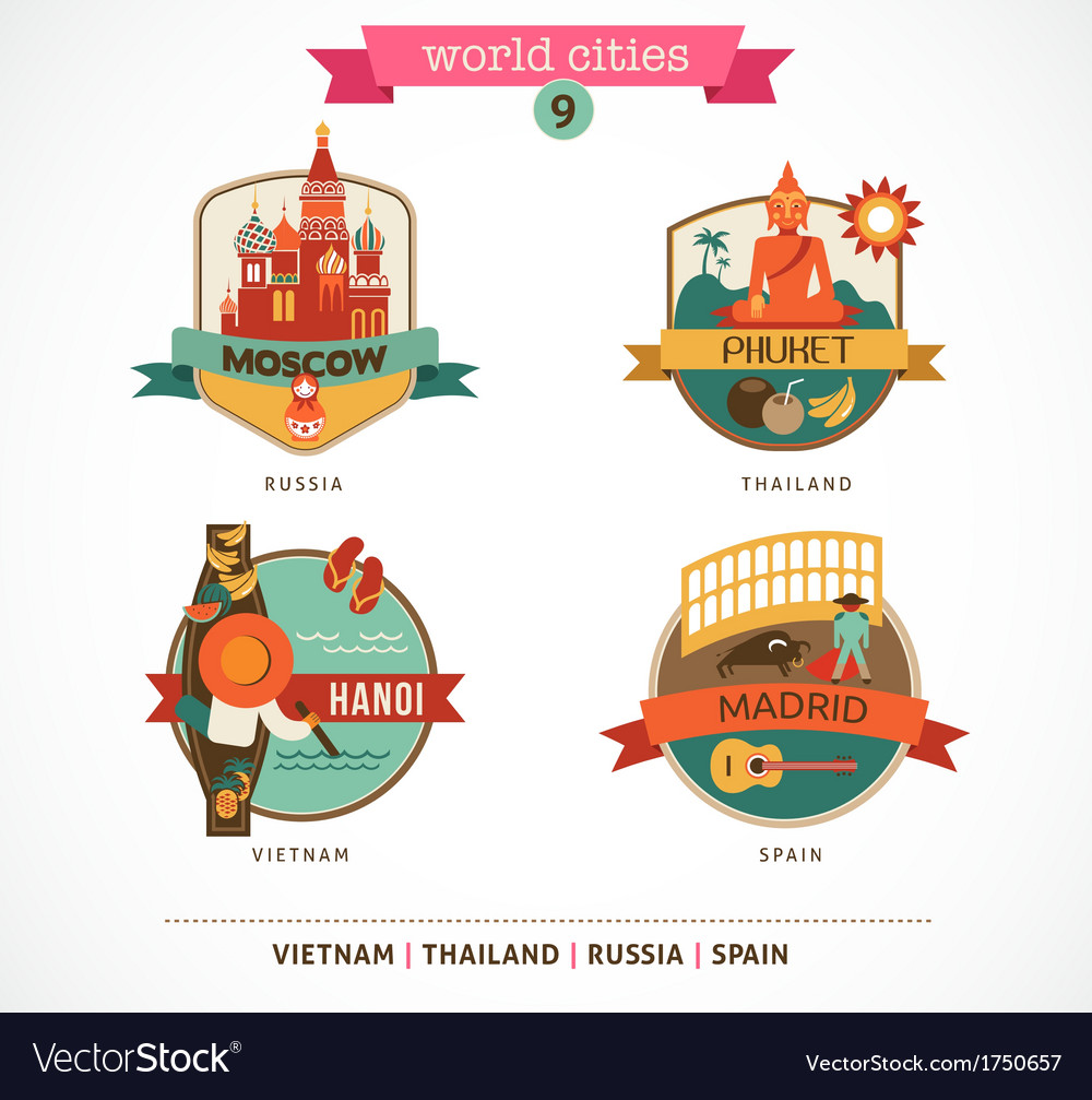 World cities labels - moscow phuket madrid hanoi vector | Price: 1 Credit (USD $1)