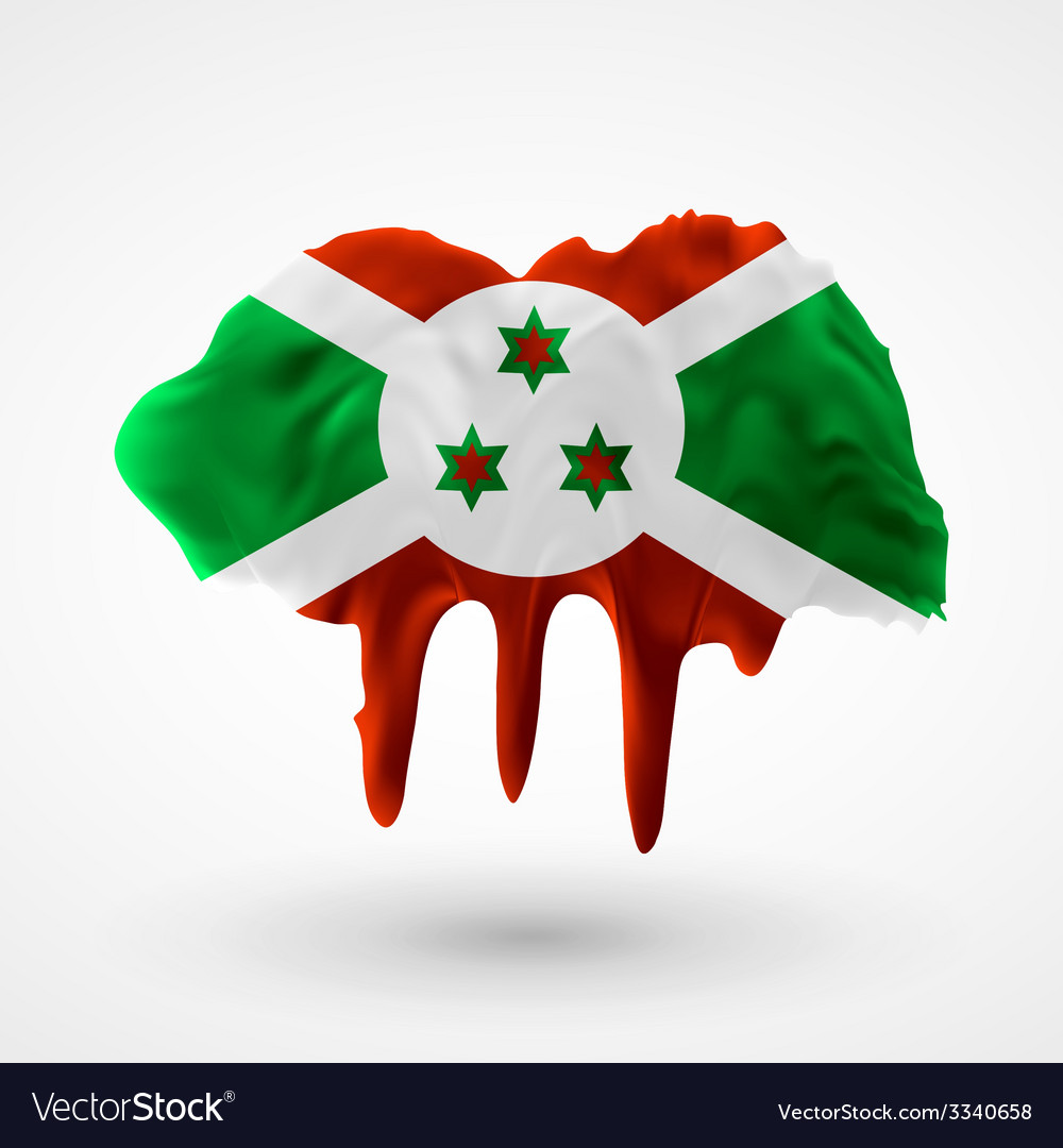 Flag of burundi painted colors vector | Price: 1 Credit (USD $1)