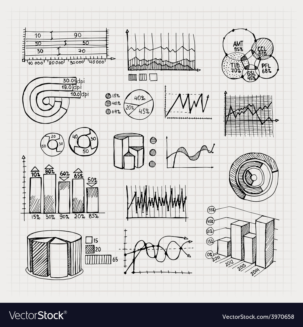Hand drawn business charts vector