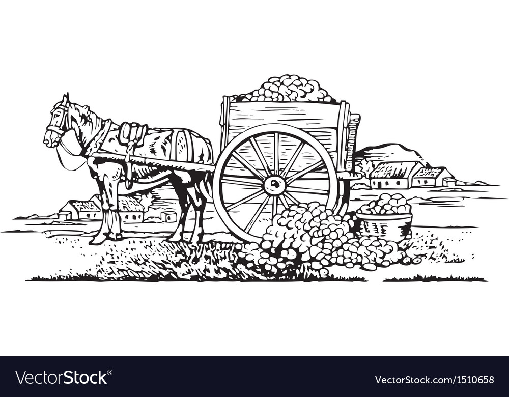 Horse cart vector | Price: 3 Credit (USD $3)