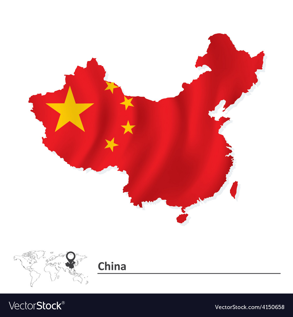 Map of china with flag vector | Price: 1 Credit (USD $1)