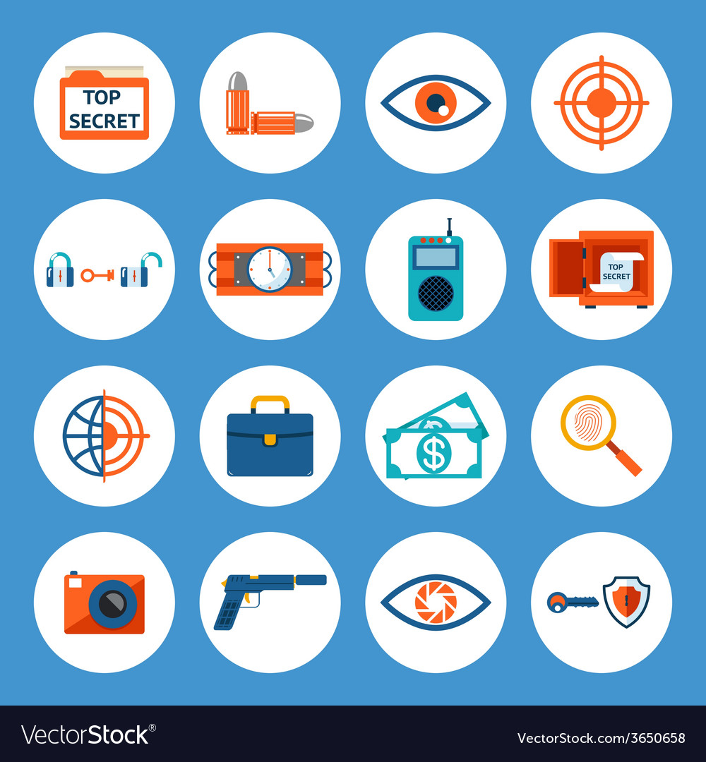 Spy accessories and gadget icons vector | Price: 1 Credit (USD $1)