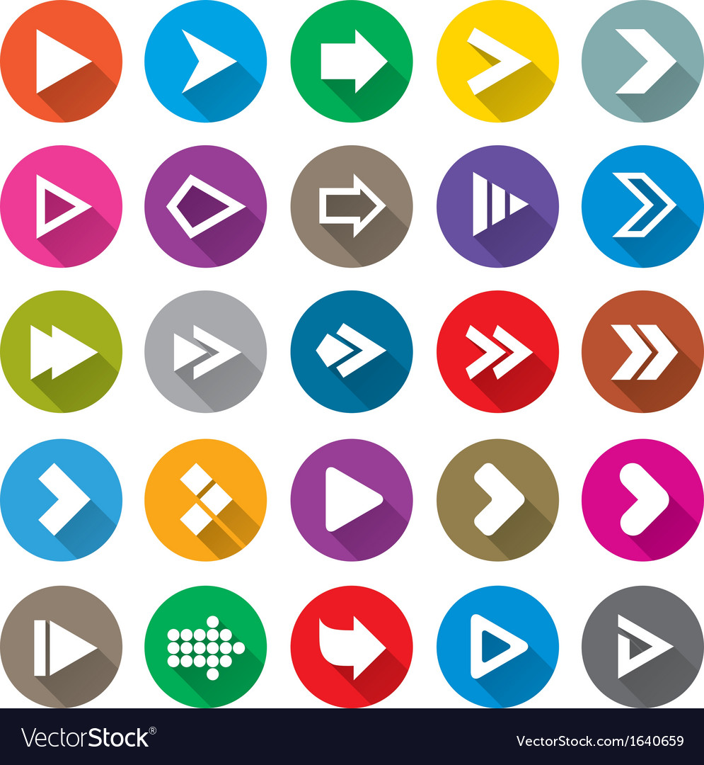 Arrow sign icon set simple circle shape buttons vector | Price: 1 Credit (USD $1)