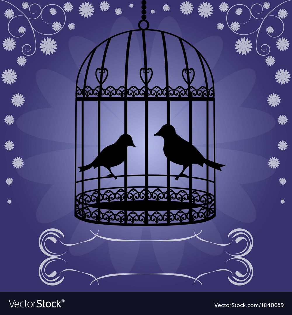 Birdcage-on-blue-floral-background vector | Price: 1 Credit (USD $1)